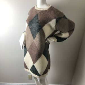 Vintage Sweaters - Vintage Mohair Wool Sweater Diamond Chunky Knit